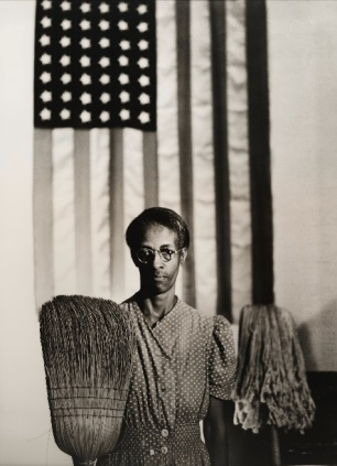 """Gordon Parks, """"American Gothic, Washington, D.C.,"""" 1942, printed later, gelatin silver print, Dallas Museum of Art, anonymous gift and Lay Family Acquisition Fund, 2007.62.3, © Estate of Gordon Parks"""