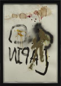 Stephen Lapthisophon, Rabbit, 2010; Spray paint, ink, coffee and pigmented bacon fat on paper; Dallas Museum of Art, Mary Margaret Munson Wilcox Fund, © Stephen Lapthisophon