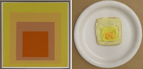 """Josef Albers, """"Study for Homage to the Square: Joy,"""" 1964, oil on masonite, Dallas Museum of Art, gift of Mr. and Mrs. Roscoe DeWitt, 1966.12, © The Josef and Anni Albers Foundation / Artists Rights Society (ARS), New York"""