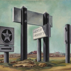 Coreen Mary Spellman, Road Signs, 1936, Dallas Museum of Art, gift of Helen, Mick and Thomas Spellman