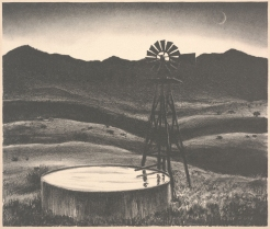 Peter Hurd, Windmill well at Night, 1935-36, Dallas Museum of Art, bequest of Rozwell Sam Adams in memory of Herndon Kimball Adams and Loither Iler Adams