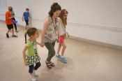 Julia and campers go for a walk in the galleries.