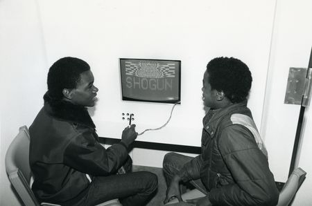 "Students working with ""Artifacts,"" the Museum's interactive computer video program during ""The Shogun Age"" in 1984."