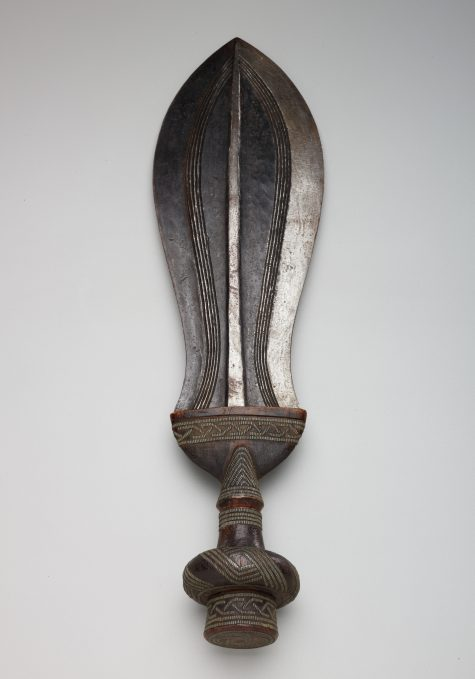 Ceremonial Knife (Metal Inlaid Grip), African, 19th-20th century, wood, steel, nickel-silver, Dallas Museum of Art, The Clark and Frances Stillman Collection of Congo Sculpture, gift of Eugene and Margaret McDermott, 1969.S.79