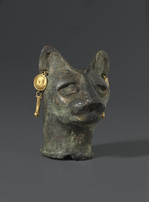 Cat's Head, 30 B.C.E. to 3rd century C.E., bronze, gold, Brooklyn Museum. Charles Edwin Wilbour Fund, 36.114