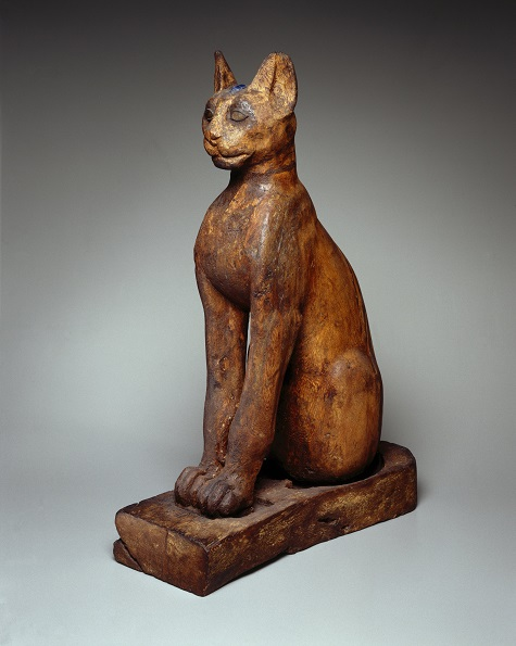 Figure of a Cat, 305 B.C.E.–1st century C.E., wood (sycamore fig), gilded gesso, bronze, copper, pigment, rock crystal, glass, Brooklyn Museum. Charles Edwin Wilbour Fund , 37.1945E