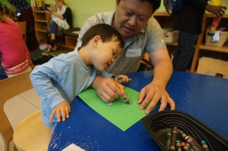 Drawing time together in Toddler Art.
