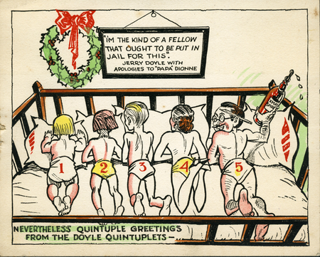 Doyle family holiday card, c. 1933, from the Jack Nolan Scrapbook.