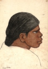 """Diego Rivera, """"Profile of a Woman,"""" c. 1930, charcoal and conte crayon on washi paper, Dallas Museum of Art, Dallas Art Association Purchase, 1951.91, © Banco de Mexico Diego Rivera & Frida Kahlo Museums Trust, Mexico, D.F. / Artists Rights Society, New York"""