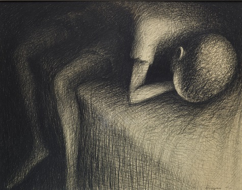 John Thomas Biggers, Sleeping Boy, 1950, conte crayon, Dallas Museum of Art, Neiman-Marcus Company Prize for Drawing, Fifth Southwestern Exhibition of Prints and Drawings, 1952 1952.1
