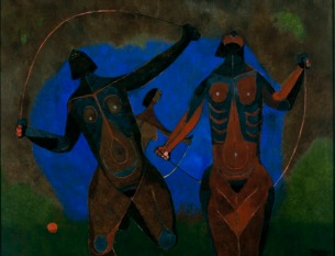 "Rufino Tamayo, ""Young Women Jumping Rope"" (""Jovencitas brincando la cuerda""), 1942–44, oil on canvas, Dallas Museum of Art, Foundation for the Arts Collection, gift of Elizabeth B. Blake, 1963.89.FA, © Estate of the artist in support of Fundacion Olga Y Rufino Tamayo, A.C."