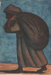 """Diego Rivera, """"Peasant Woman,"""" 1946, watercolor, Dallas Museum of Art, Bequest of Mr. and Mrs. Benjamin Lewis, 1985.16, © Banco de Mexico Diego Rivera & Frida Kahlo Museums Trust, Mexico, D.F. / Artists Rights Society, New York"""