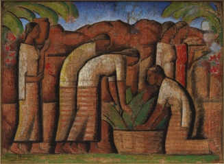 """Alfredo Ramos Martinez, """"Workers,"""" 1944–45, tempera on newsprint, Dallas Museum of Art, gift of Mr. and Mrs. William Weber Johnson, 1991.106, © Alfredo Ramos Martinez"""