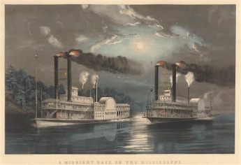 Frances Flora Palmer, A Midnight Race on the Mississippi, 1860, color lithograph with hand-coloring, National Gallery of Art, Washington, Donald and Nancy deLaski Fund
