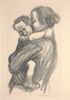 Käthe Kollwitz, Boy with Arms Around Mother's Neck, 1931, Lithograph, Dallas Museum of Art, gift of Mrs. Leon A. Harris, Sr., 1940.59