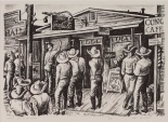 "Jerry Bywaters, ""Election Day in Balmorhea,"" 1938, lithograph, Dallas Museum of Art, gift of Violet Hayden Dowell from Lone Star Printmakers, First Circuit of Lithographs by Texas Artists, 1960.23"