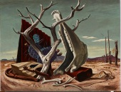 """Jerry Bywaters, """"On the Ranch,"""" 1941, oil and tempera on Masonite, Dallas Museum of Art, Dealey Prize, Thirteenth Annual Dallas Allied Arts Exhibition, 1942, 1942.4"""