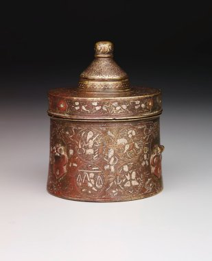 Inkwell (side), Iran, late 12th century, brass inlaid with silver and copper, The Keir Collection of Islamic Art, K.1.2014.73.A-B.