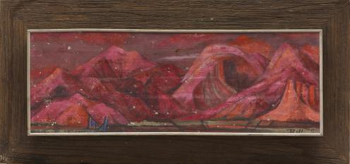 """Bill Bomar, """"Red Mountains,"""" 1952, oil on canvas, Dallas Museum of Art, E. M. Dealey Purchase Prize, State Fair of Texas Art Exhibition, 1952.42"""
