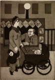 "Florence Volk, ""Subway News Stand,"" date unknown, aquatint, Dallas Museum of Art, Dallas Print Society Fund, 1948.29"