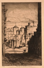 "George Taylor Plowman, ""In San Francisco,"" 1905-06, mezzotint, Dallas Museum of Art, gift of Mrs. A. E. Zonne, 1942.37.1"
