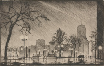 "James Swann, ""Night in Chicago,"" 1940, drypoint, Dallas Museum of Art, gift of the Friends of Art, Former Dallas Artists, 1943.6"