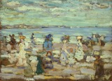 "Maurice Brazil Prendergast, ""Beach Scene,"" c. 1907-10, oil on panel, Dallas Museum of Art, gift of Mrs. Wilson Schoellkopf, 1962.23"