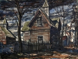 "Omar Raymond Carrington, ""Village Barn Towers,"" date unknown, watercolor, Dallas Museum of Art, George T. Lee Purchase Prize, Southern States Art League Exhibition, 1945, 1945.25"