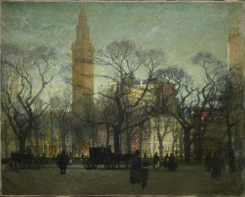 "Paul Cornoyer, ""Afternoon in Madison Square,"" 1910, oil on canvas, Dallas Museum of Art, Dallas Art Association Purchase, 1914.1"