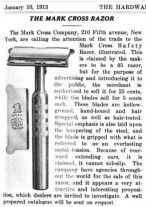 A 1913 Mark Cross razor advertisement. Courtesy of jmudrick's blog post on TheShaveDen.com. For more detail about the Mark Cross razor's history, this is a great source!